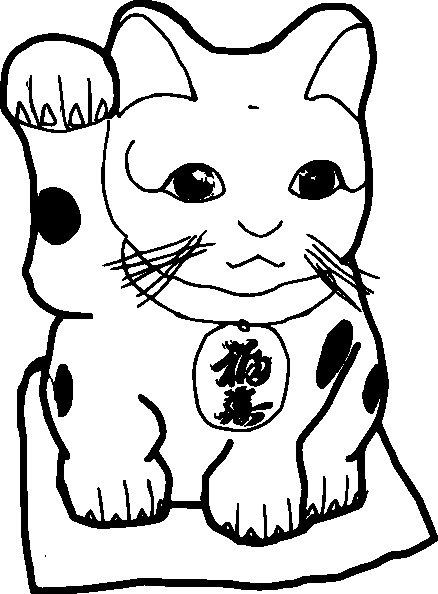 Disegno da colorare gattino cinese for Immagini di gatti da colorare