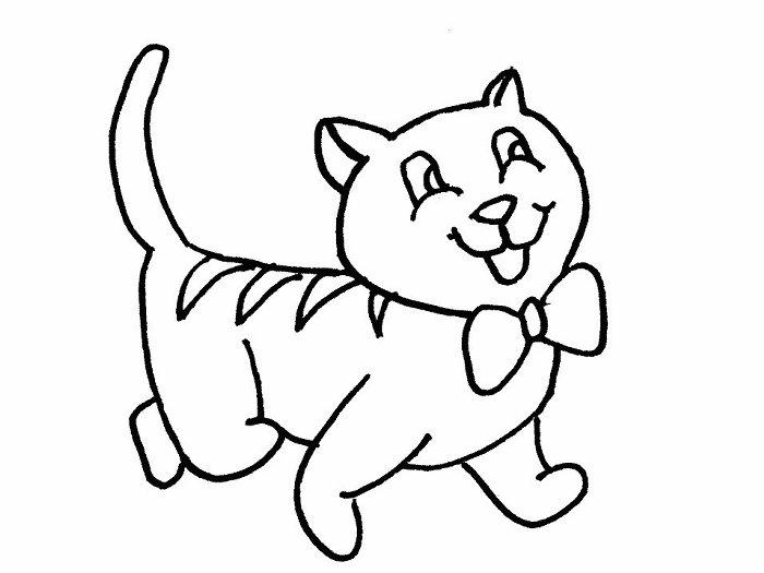 disegno da colorare gattino con papillon