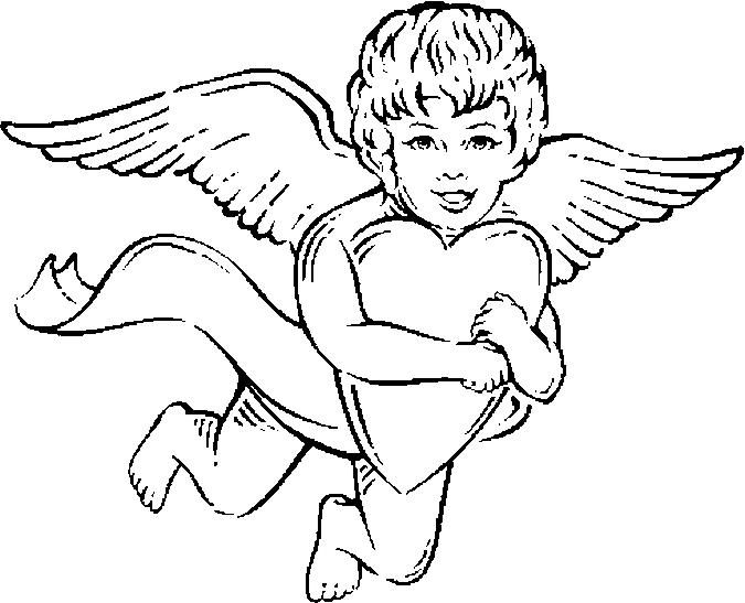Disegno da colorare angelo sorridente con cuore in mano for Disegni di angeli da colorare per bambini