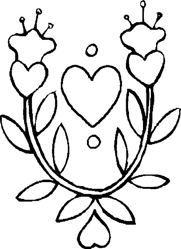 Disegno da colorare foglie e cuori for Disegni da colorare con cuori