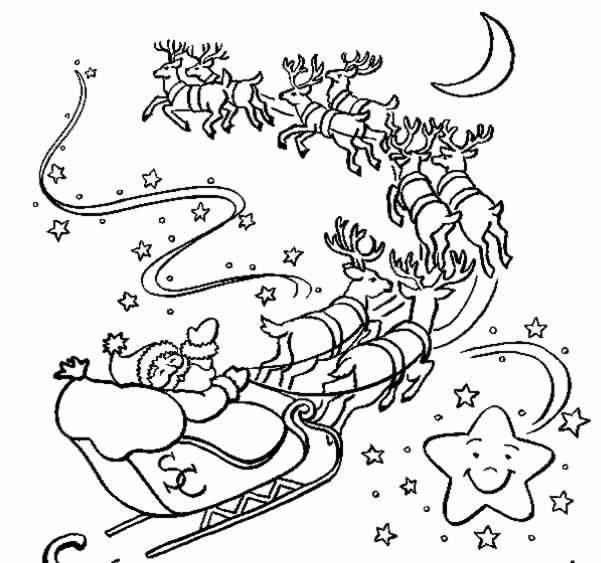 Immagine Da Colorare Babbo Natale Con Slitta E Renne