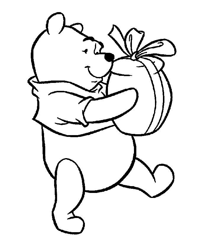 Immagine da colorare orsetto con regalo